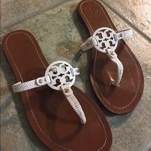 Tory Burch White Mini Miller Sandal, Size 7